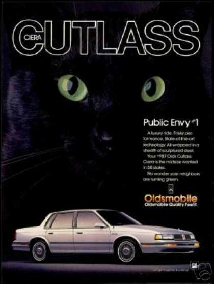 Oldsmobile Cutlass Ciera Black Cat Eyes Car (1987)