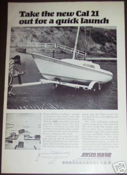 Jensen Marine Cal 21 Boat Boating Photo (1970)