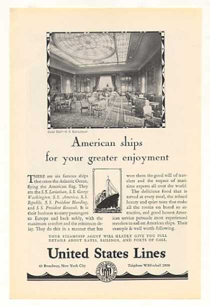 United States Lines SS Leviathan Social Hall (1928)