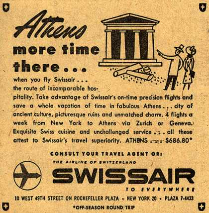 SwissAir's Athens – Athens, more time there... (1954)