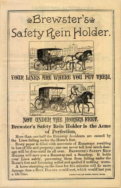 Brewster's Safety Rein Holder, E. E. Brewster,'s Safety Rein Holder – Brewster's Safety Rein Holder.