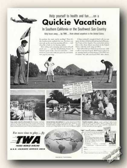 Twa Quickie Vacation Ad W/route Map (1948)