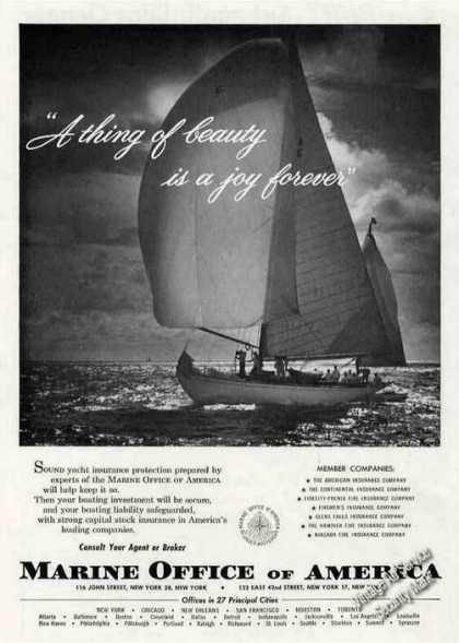 Beautiful Sailboat Photo Marine Office America (1956)
