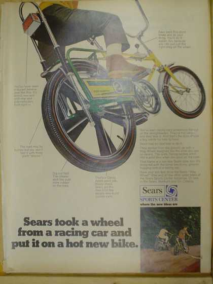 Sears Sports Center Bicycle. Took a wheel from a racing car and put it on a hot new bike (1969)