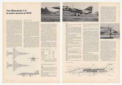 Mitsubishi T-2 Trainer Aircraft 3-Pg Photo Article (1974)