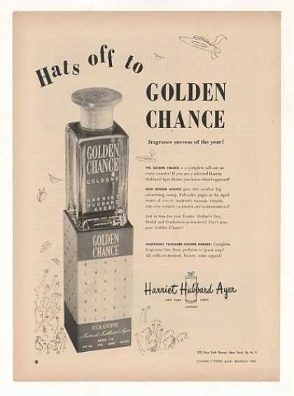 '49 Harriet Hubbard Ayer Golden Chance Cologne Trade (1949)
