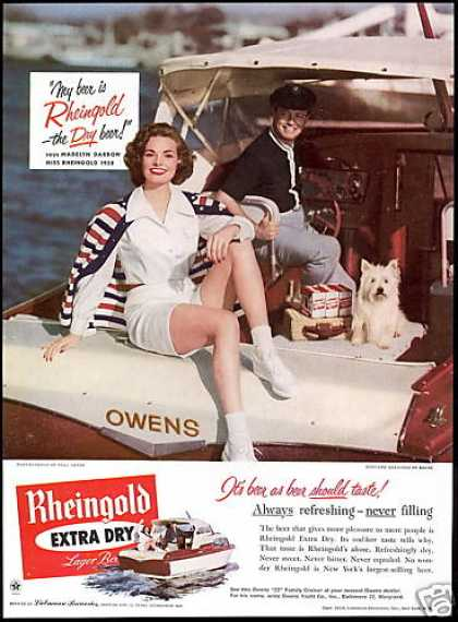 Rheingold Beer Owens Boat Westie Dog Photo (1958)