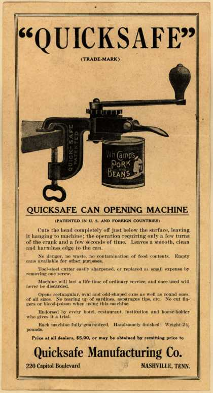 "Quicksafe Mfg. Co.'s Quicksafe Can Opening Machine – ""Quicksafe"""
