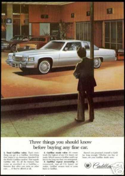 Cadillac Showroom 3 Car Photo Vintage (1978)