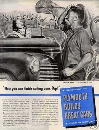 "Plymouth Ad ""Now You Can Finish... (1944)"