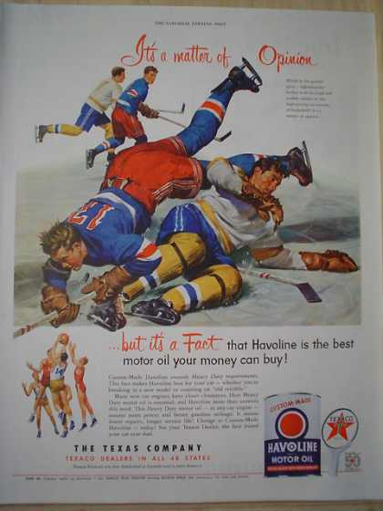 Texaco Havoline Motor Oil The Texas Company Basketball and Hockey theme (1952)