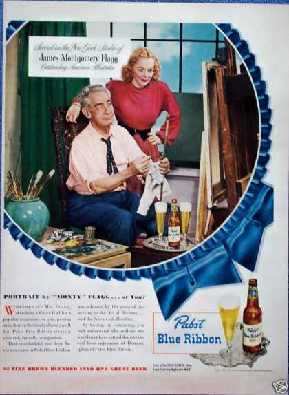 Pabst Blue Ribbon Beer James M Flagg Illustrator (1948)
