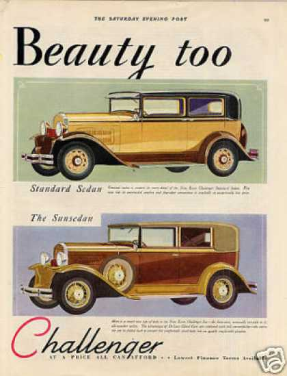 Essex Challenger Sedan & Sunsedan Color Ad 2 Page (1930)