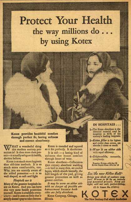 Kotex Company's Sanitary Napkins – Protect Your Health the way millions do...by using Kotex (1931)