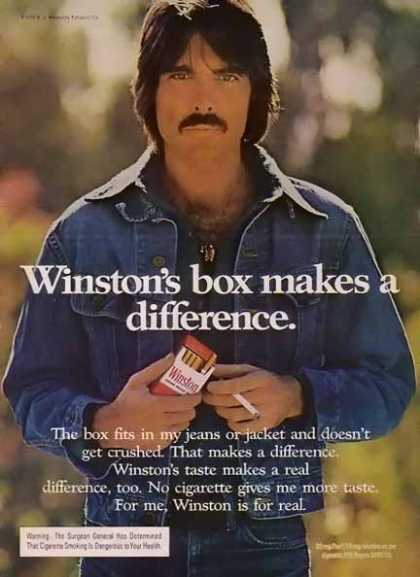 Winston – Men of Winston Cigarette – Box makes a difference. (1975)