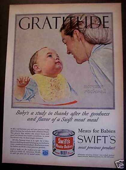 Swift's Meats for Babies Food Norman Rockwell (1955)