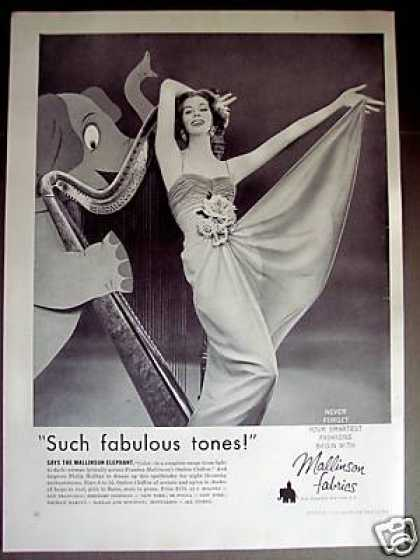 Elephant Plays the Harp Mallinson Fabrics Photo (1957)