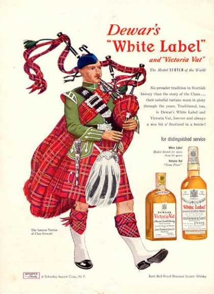 Dewar White Label Scotch Tartan Stewart Bagpipe (1951)