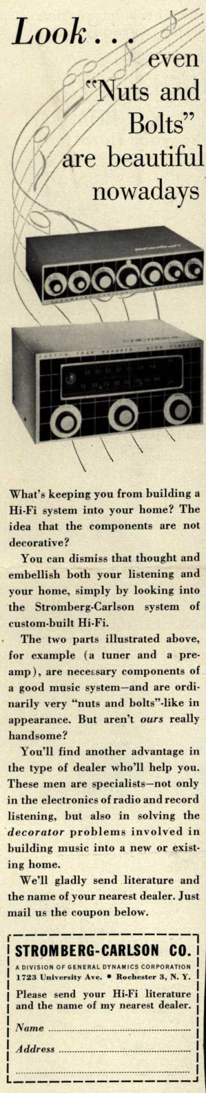 "Stromberg-Carlson Co.'s Hi-Fi system – Look...even ""Nuts and Bolts"" are beautiful nowadays (1956)"