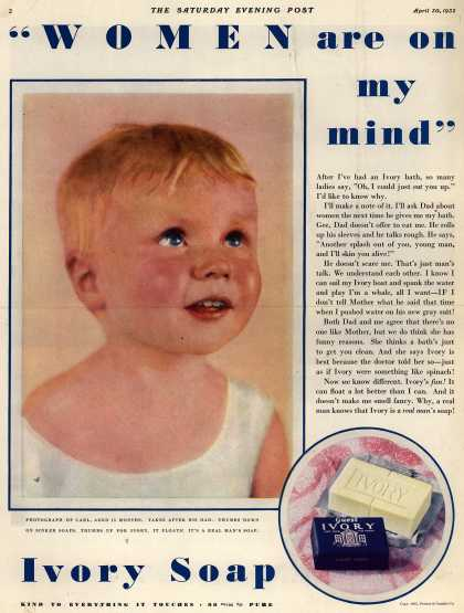 "Procter & Gamble Co.'s Ivory Soap – ""WOMEN are on my mind"" (1932)"