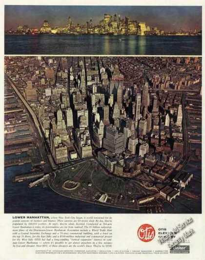 Beautiful Aerial View Lower Manhattan Ny Otis (1960)