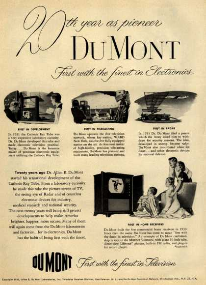 Allen B. DuMont Laboratorie's Corporation – 20th Year as Pioneer, DuMont, first with the finest in Electronics (1951)