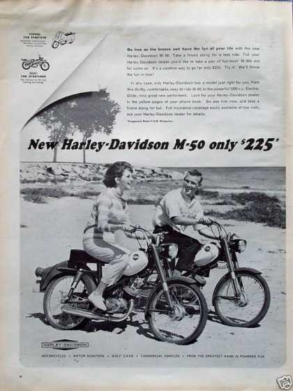 Harley Davidson Motorcycle M50 Couple Beach Ride (1964)