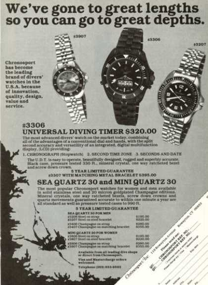 Chronosport Watch Diving Timer Sea Mini Quartz (1980)