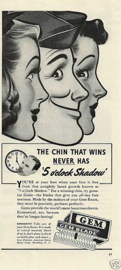 5 Oclock Shadow Gem Razor Blades (1942)