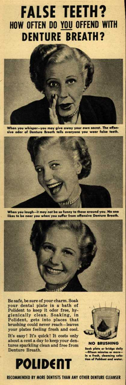 Polident – False Teeth? How Often Do You Offend With Denture Breath? (1952)