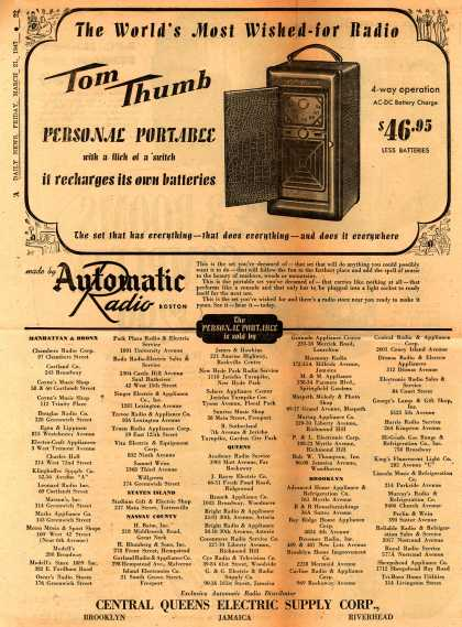 Automatic Radio's Portable Radio – The World's Most Wished-For Radio, Tom Thumb (1947)