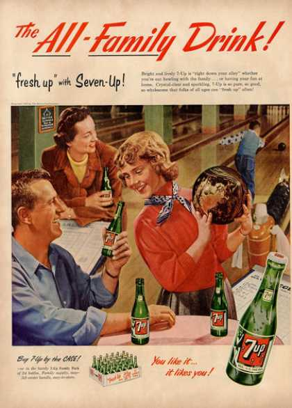 7up Glass Bottle Bowling Alley 7 Up Ad T (1953)