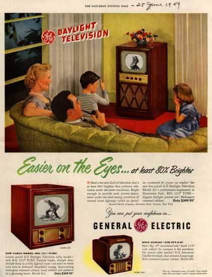 General Electric Company's Television – GE Daylight Television, Easier on the Eyes... at least 80% Brighter (1949)