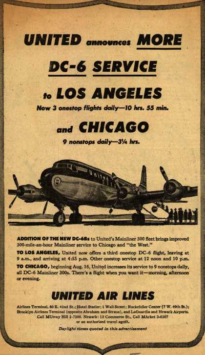 United Air Line's Los Angeles, Chicago – United announces More DC-6 Service to Los Angeles and Chicago (1951)