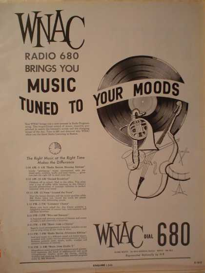 Lot of 2 WNAC 680 radio ads Boston (1961)