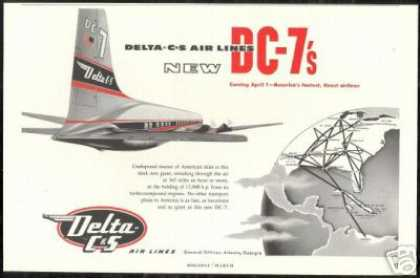 Delta Airlines C&S DC-7 DC7 System Map (1954)