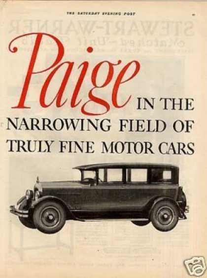 Paige Car Ad 2 Page (1926)