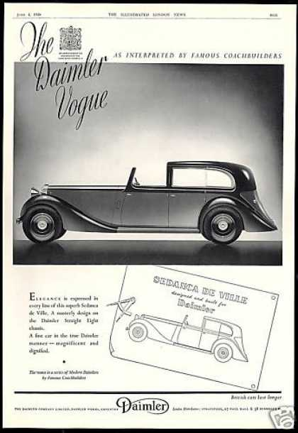 Daimler Sedanca De Ville Car Vintage Print UK (1938)