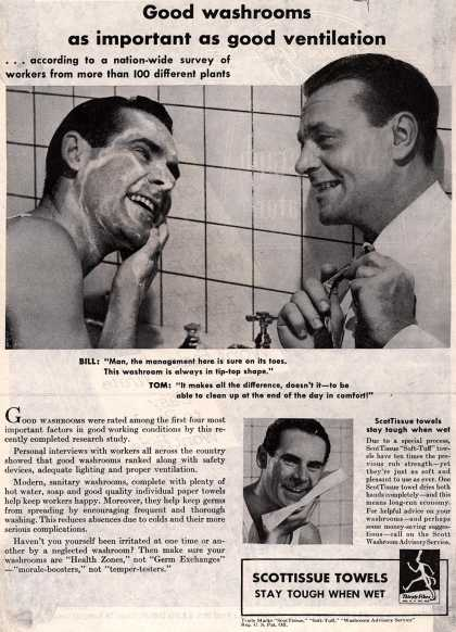 "Scott Paper Company's ""Soft-Tuff"" ScotTissue Towels – Good washrooms as important as good ventilation (1945)"