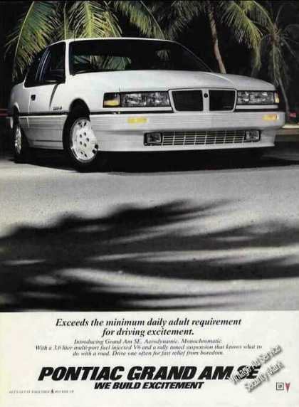 Pontiac White Grand Am Se Nice Photo (1986)