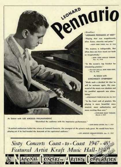 Leonard Pennario Photo Piano Booking (1948)