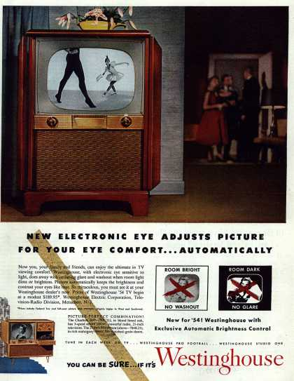 Westinghouse Electric Corporation's Television – New Electronic Eye Adjusts Picture For Your Eye Comfort... Automatically (1953)