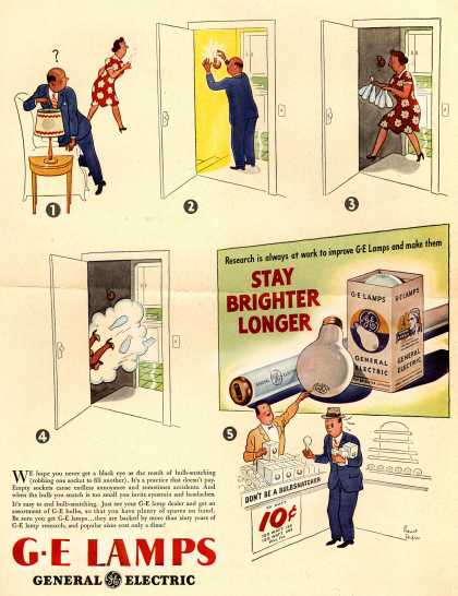 General Electric Company's G-E bulbs – Stay Brighter Longer (1946)