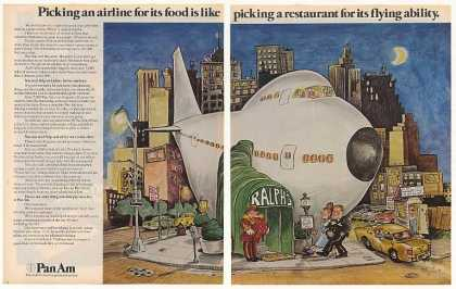 Pan Am Airlines Jet Airplane Restaurant 2-Page (1972)