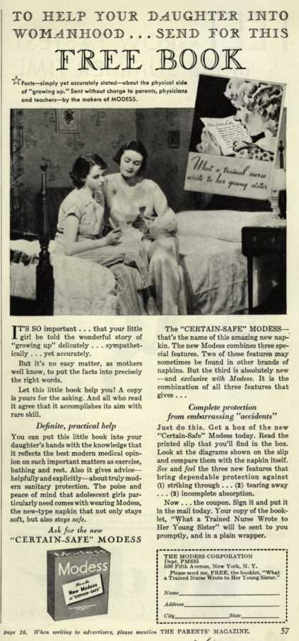 Modes's Sanitary Napkins – To Help Your Daughter Into Womanhood...Send For This Free Book (1935)