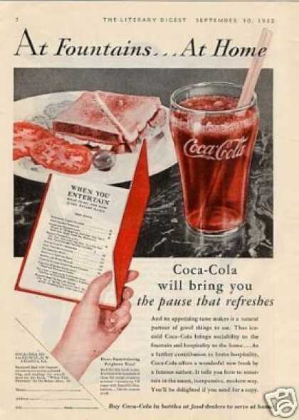 "Coca-cola Ad ""At Fountains... (1932)"