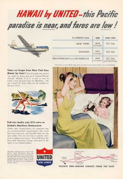 United Airlines Hawaii Stratocruiser Berths (1952)