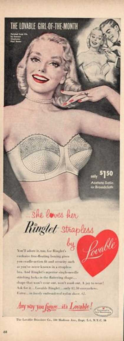 Lovable Womens Satin Bra Paul Radar Art Ad T (1952)