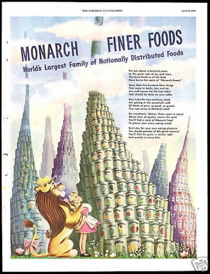 Monarch Canned Food Lion Vintage (1948)