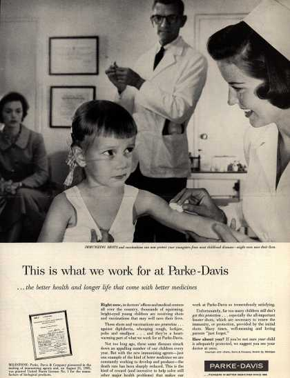 Parke, Davis & Company's Shots and vaccinations – This is what we work for at Parke-Davis (1957)